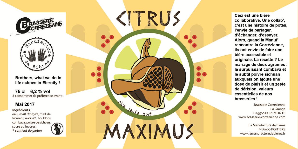 étiquette de la Citrus Maximus de La corrézienne et de la Manufacture de Bières
