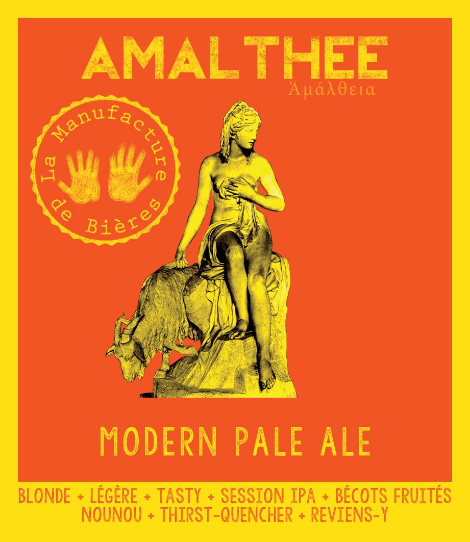 étiquette d'Amalthée Modern Pale Ale de la Manufacture de Bières