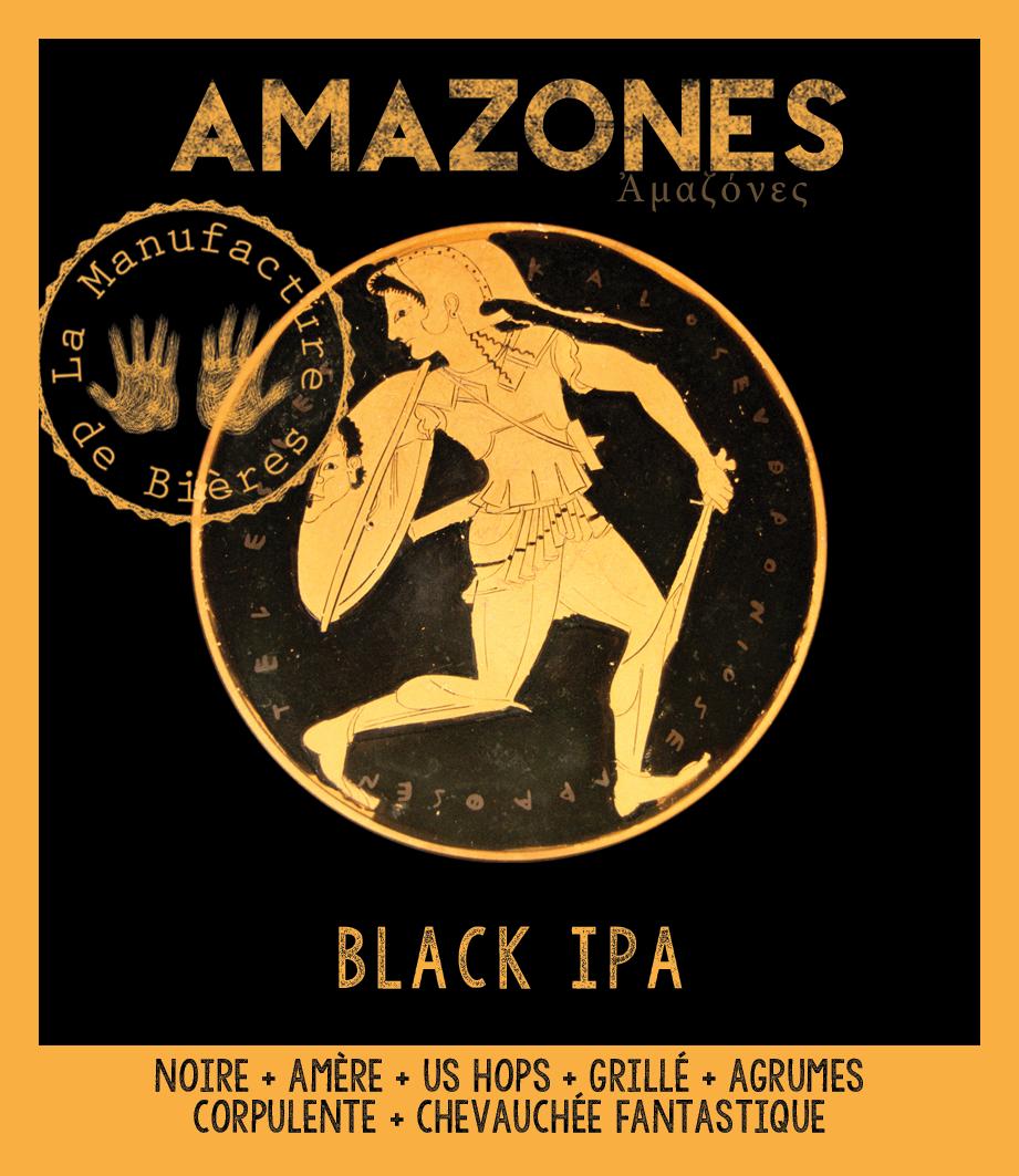 étiquette d'Amazones Black IPA de la Manufacture de Bières