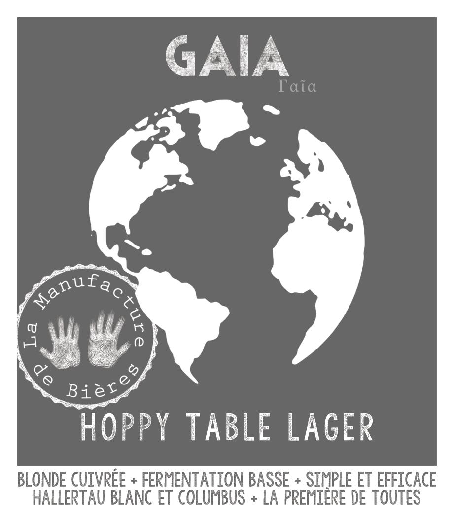 étiquette de Gaïa Hoppy Table Lager de la Manufacture de Bières