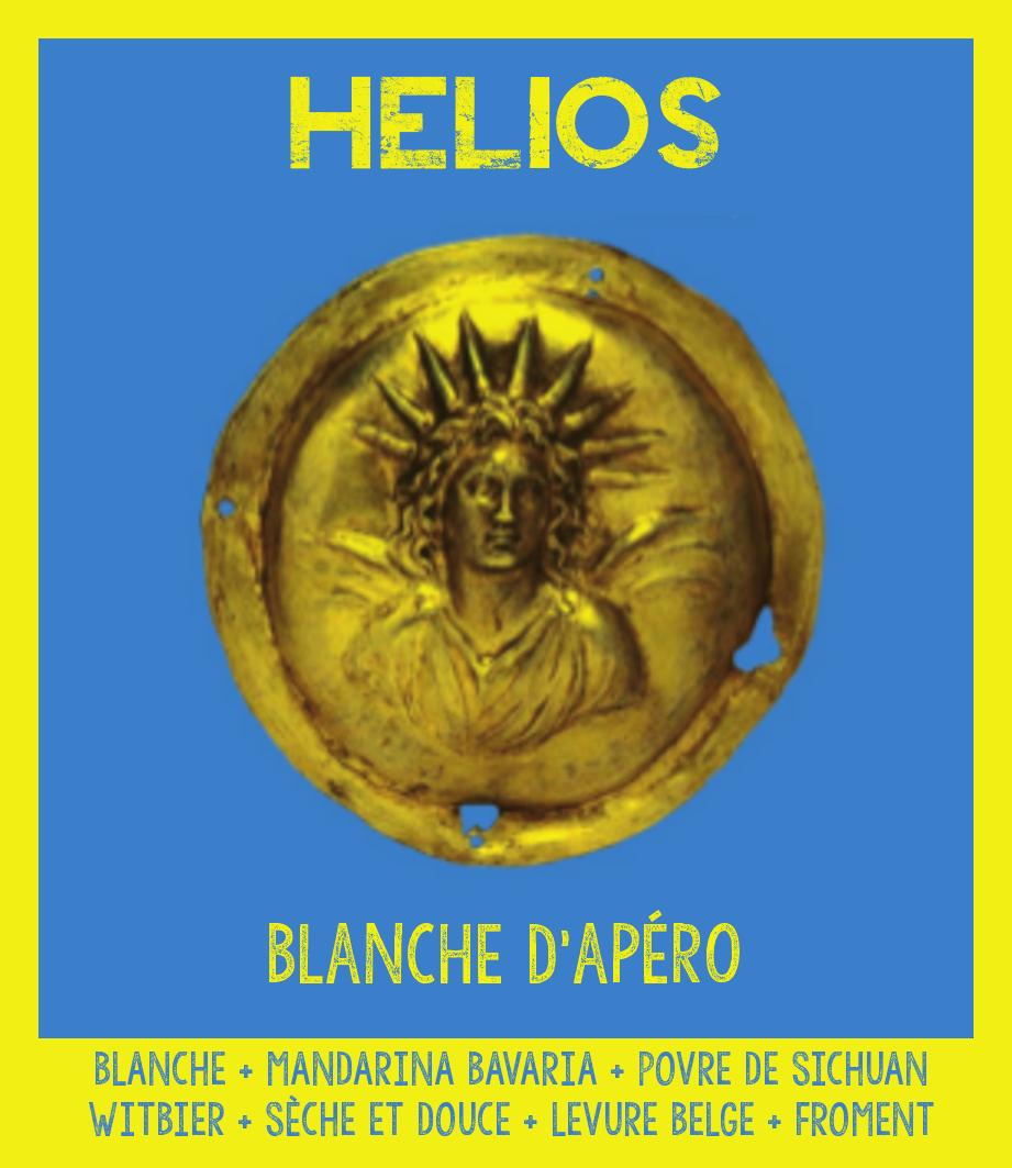 étiquette d'Hélios Blanche d'apéro de la Manufacture de Bières