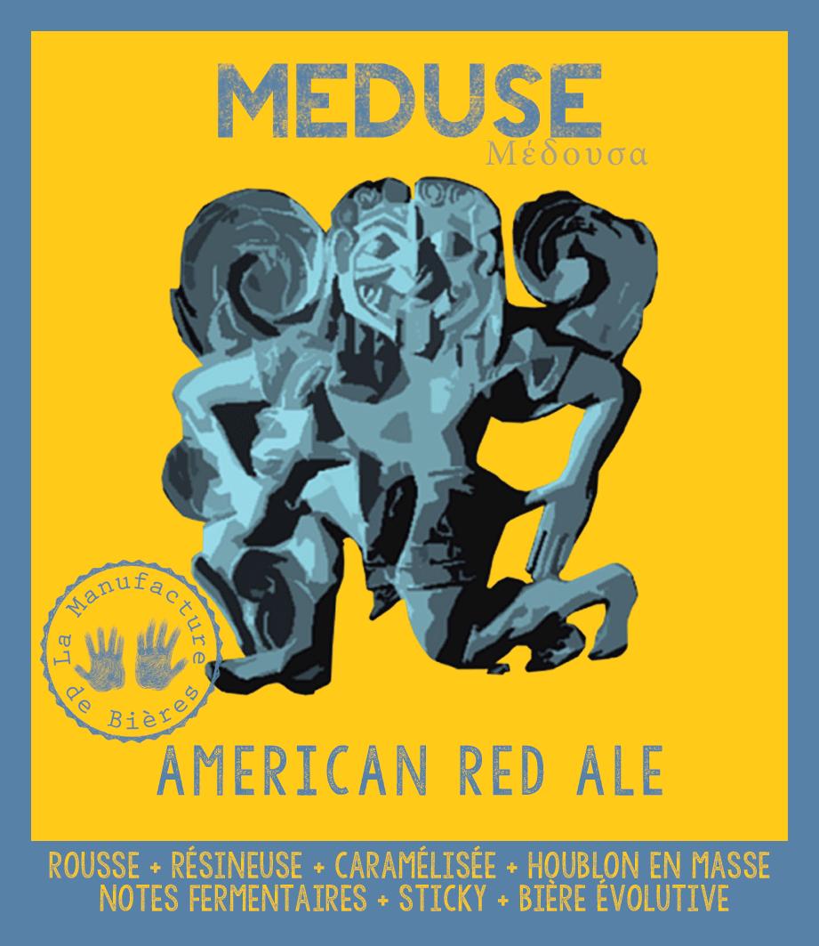 étiquette de Méduse American Red Ale de la Manufacture de Bières