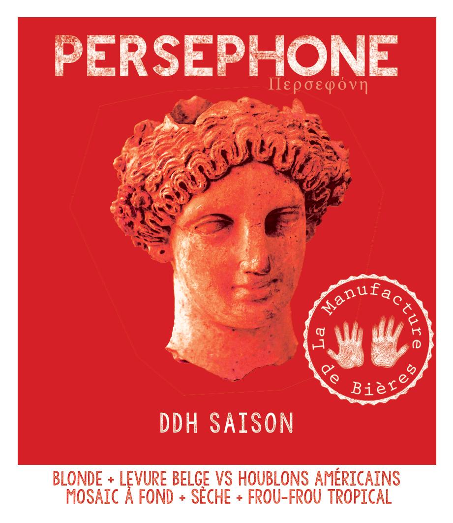 étiquette de la Perséphone DDH Saison de la Manufacture de Bières