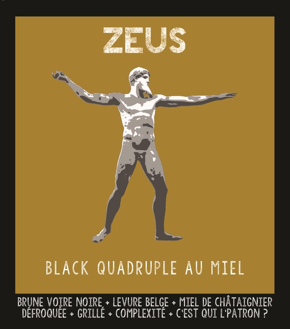 étiquette de Zeus Black Quadruple au miel de Châtaignier de la Manufacture de Bières