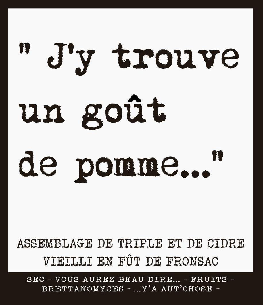 étiquette de la J'y trouve un goût de pomme du Zinc de Poitiers et de la Manufacture de Bières