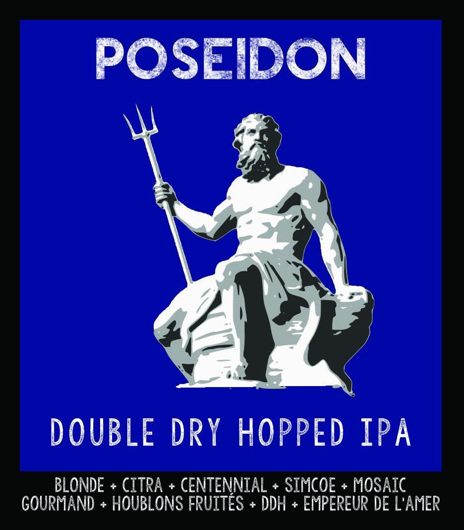 étiquette de Poséidon Double Dry Hopped IPA de la Manufacture de Bières